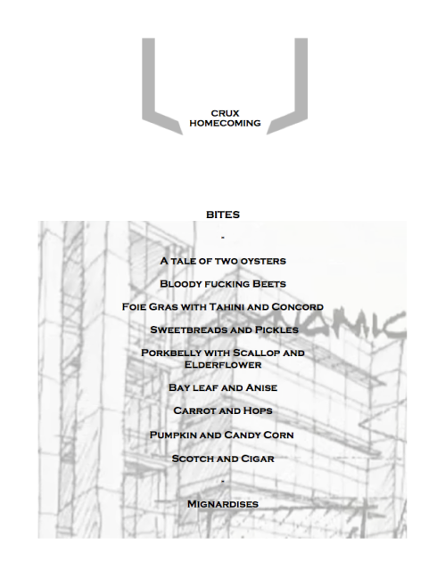 CRUX homecoming menu