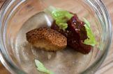 Duck liver mousse, tomato jam, fried brioche, romaine