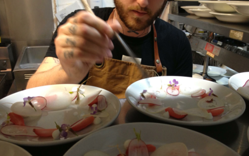Radish, pork fat, bee pollen. May 4th at Egg in Brooklyn, NY